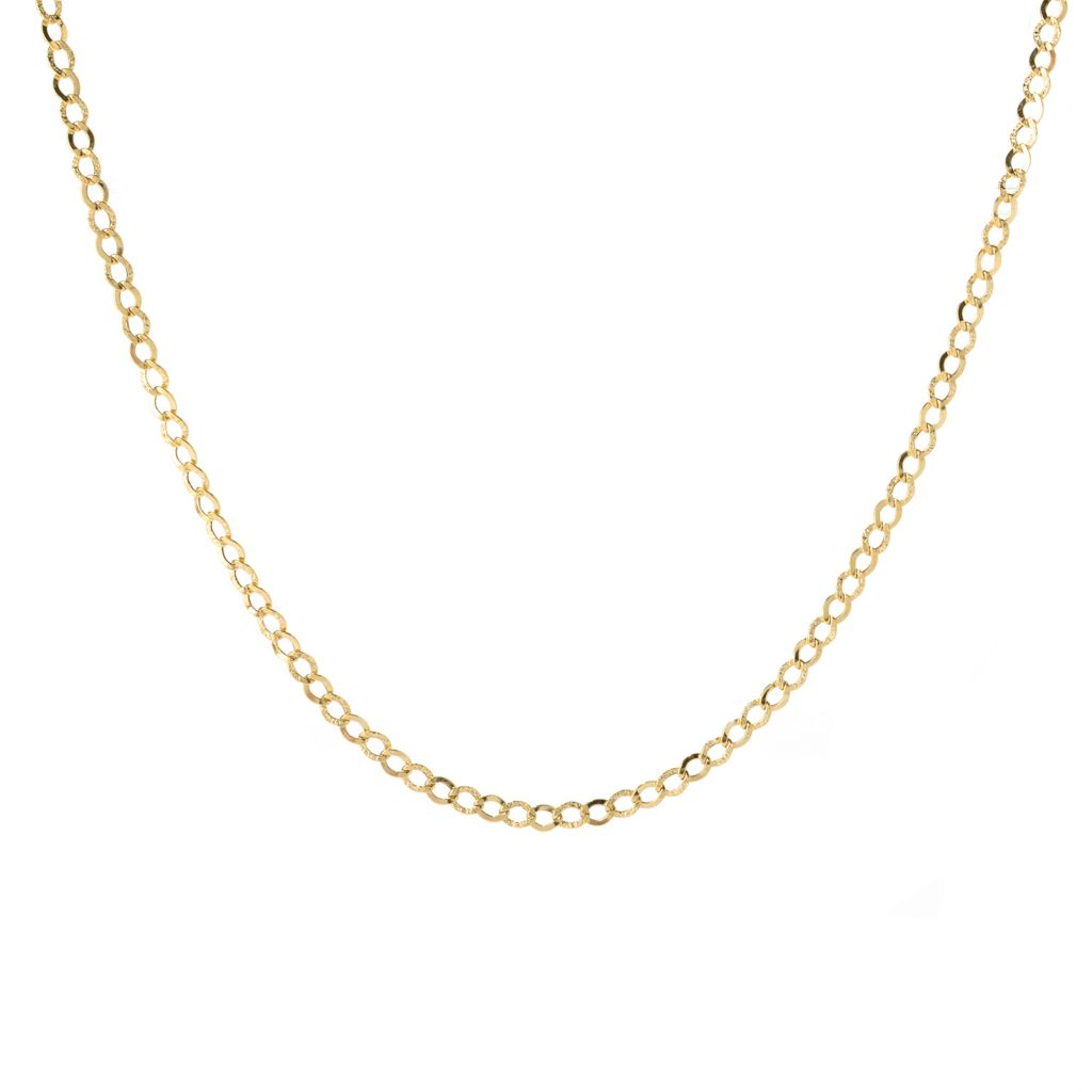 140-963 - Italian Designs with Stefano 14K Gold Polished Diamond Cut Curb Chain Necklace
