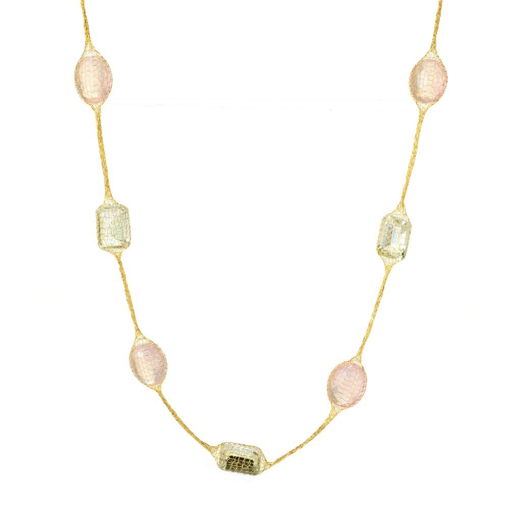 "140-965 - Italian Designs with Stefano 18"" 14K Gold Quartz & Prasiolite Mesh Necklace"