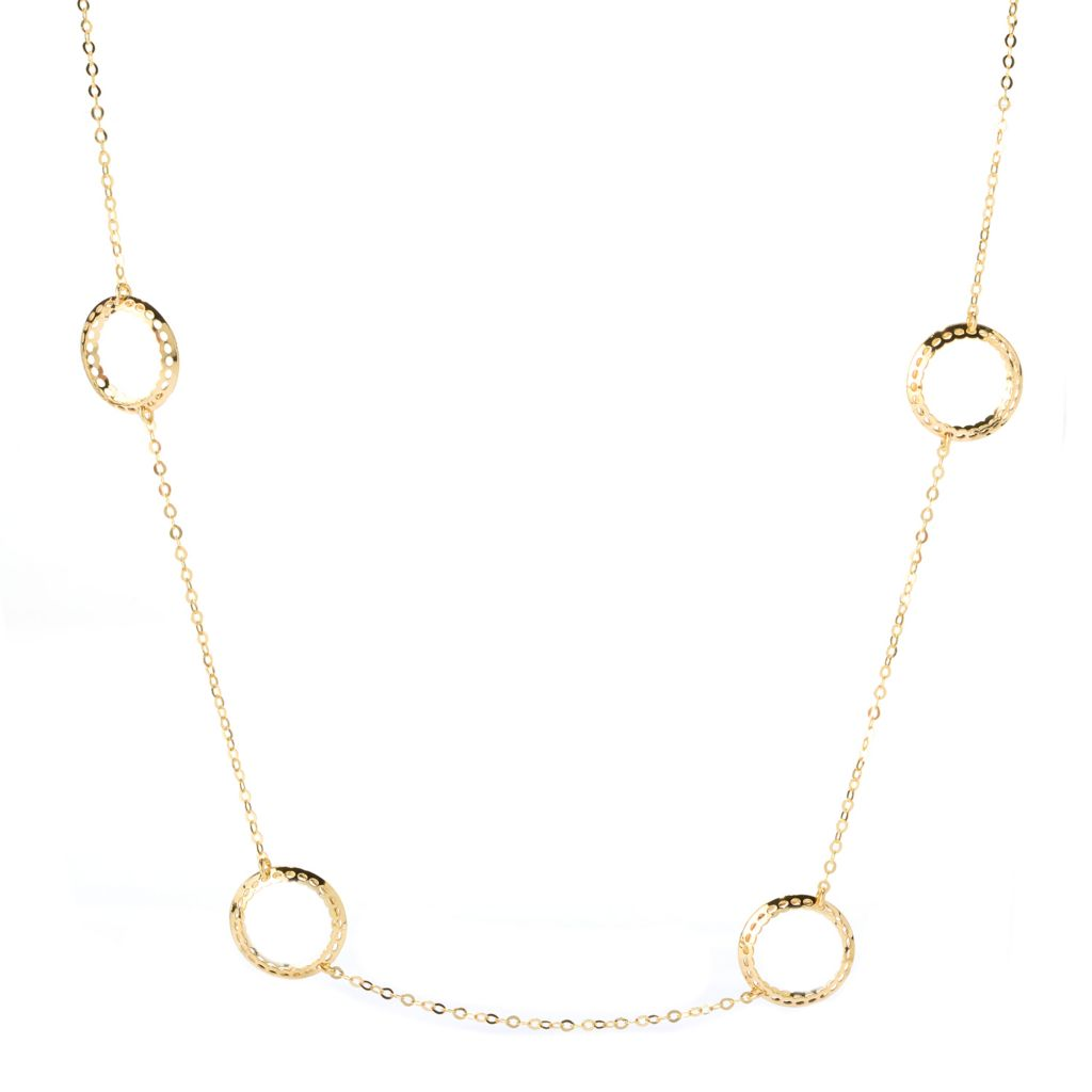 "140-967 - Italian Designs with Stefano 14K Gold 24""  Ricami Station Necklace, 4.56 grams"