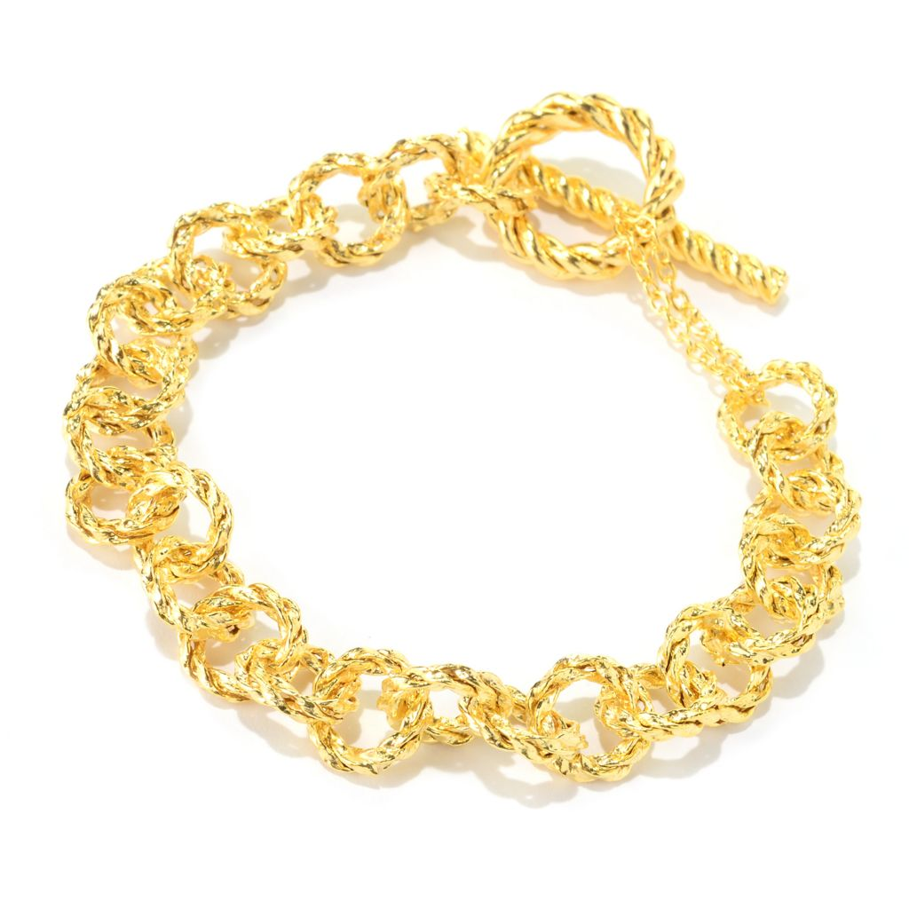 "140-968 - Italian Designs with Stefano 7.75"" 14K Gold Twisted Toggle Bracelet 6.55 grams"