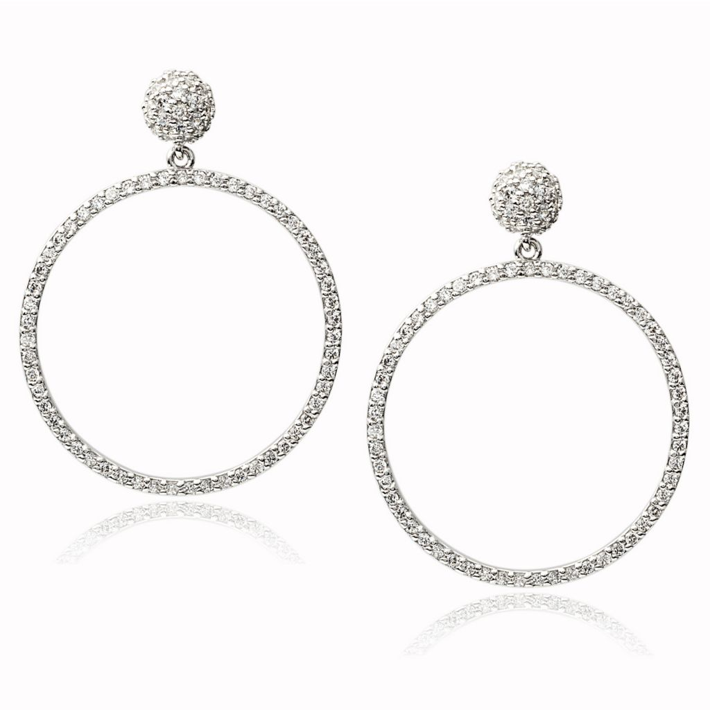 "140-972 - Tressa Collection Sterling Silver 1.5"" Simulated Diamond Dangle Earrings"