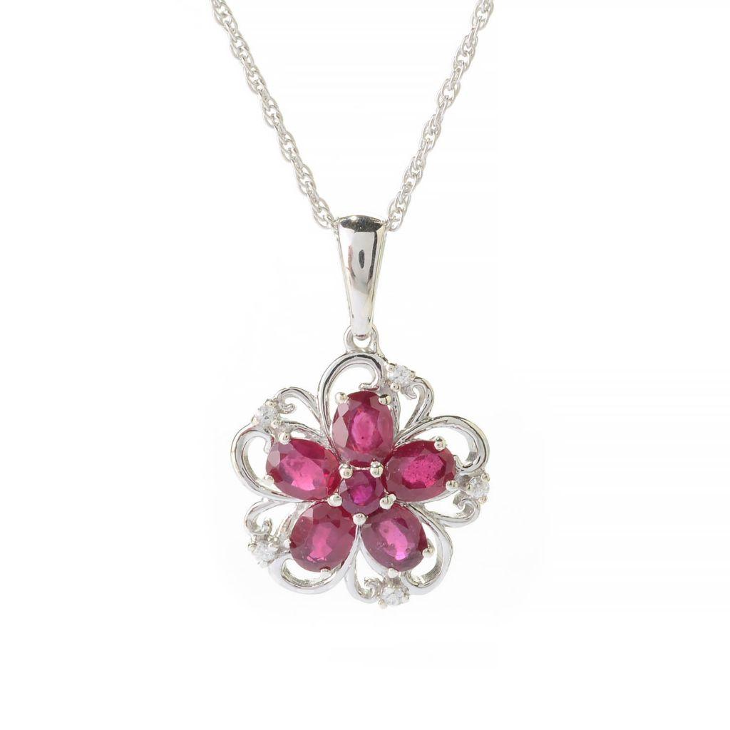 "140-983 - NYC II 2.30ctw Innova™ Ruby & White Zircon Flower Pendant w/ 18"" Chain"