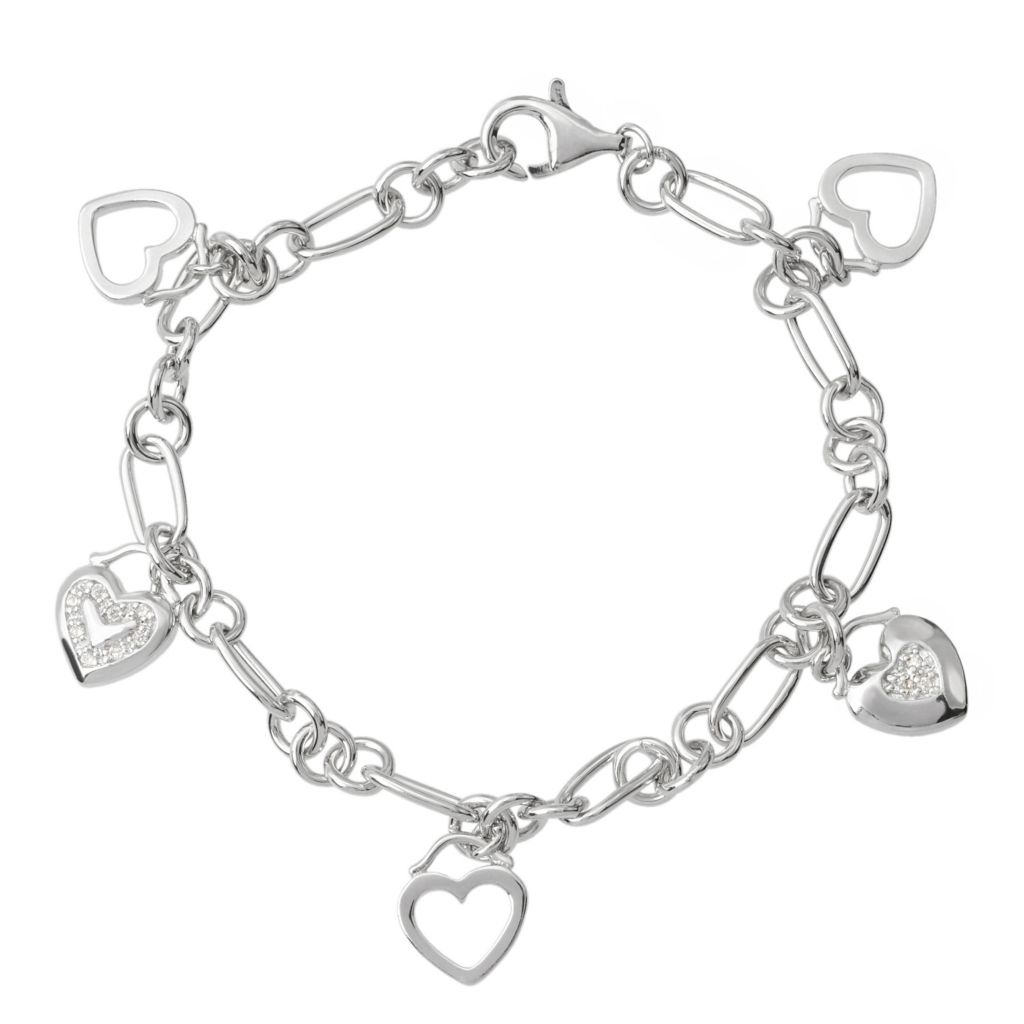 "140-986 - Tressa Collection Sterling Silver 7"" Simulated Diamond Heart Charms Bracelet"