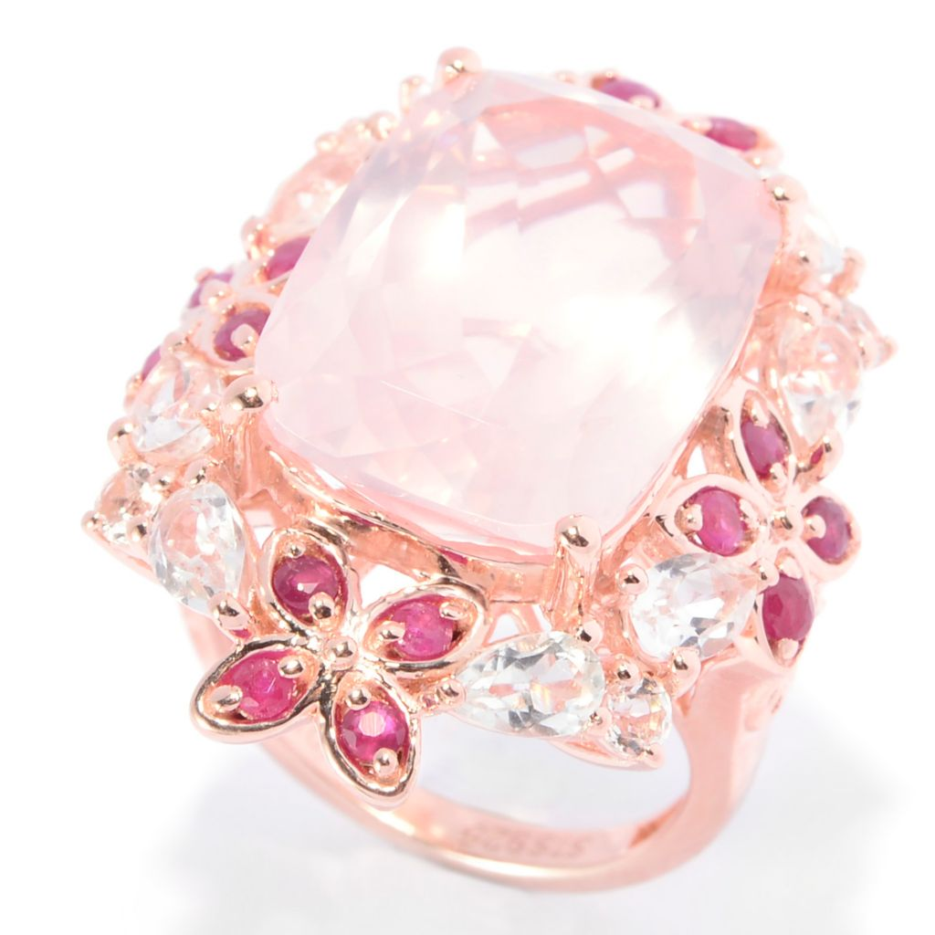 140-987 - NYC II 13.18ctw Rose Quartz, Ruby & White Topaz Flower Ring