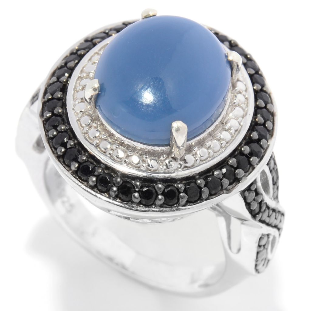 140-989 - NYC II 12 x 10mm Oval Oregon Blue Opal & Black Spinel Halo Ring