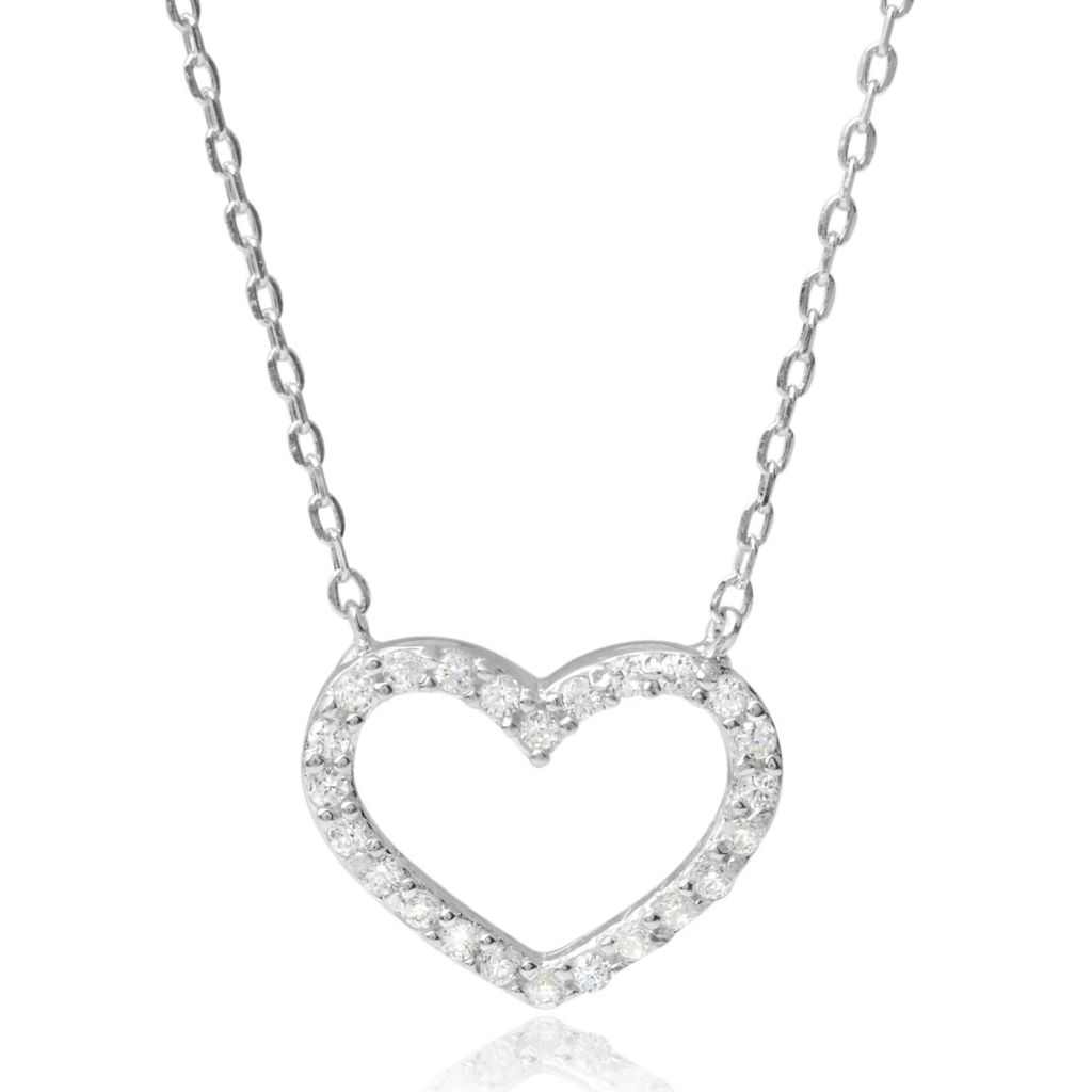 "140-991 - Tressa Collection 18"" Sterling Silver Simulated Diamond Cut-out Heart Necklace"