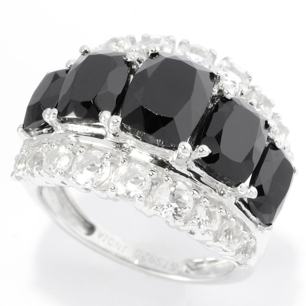 140-992 - NYC II 5.00ctw Black Spinel & White Topaz Graduated Band Ring