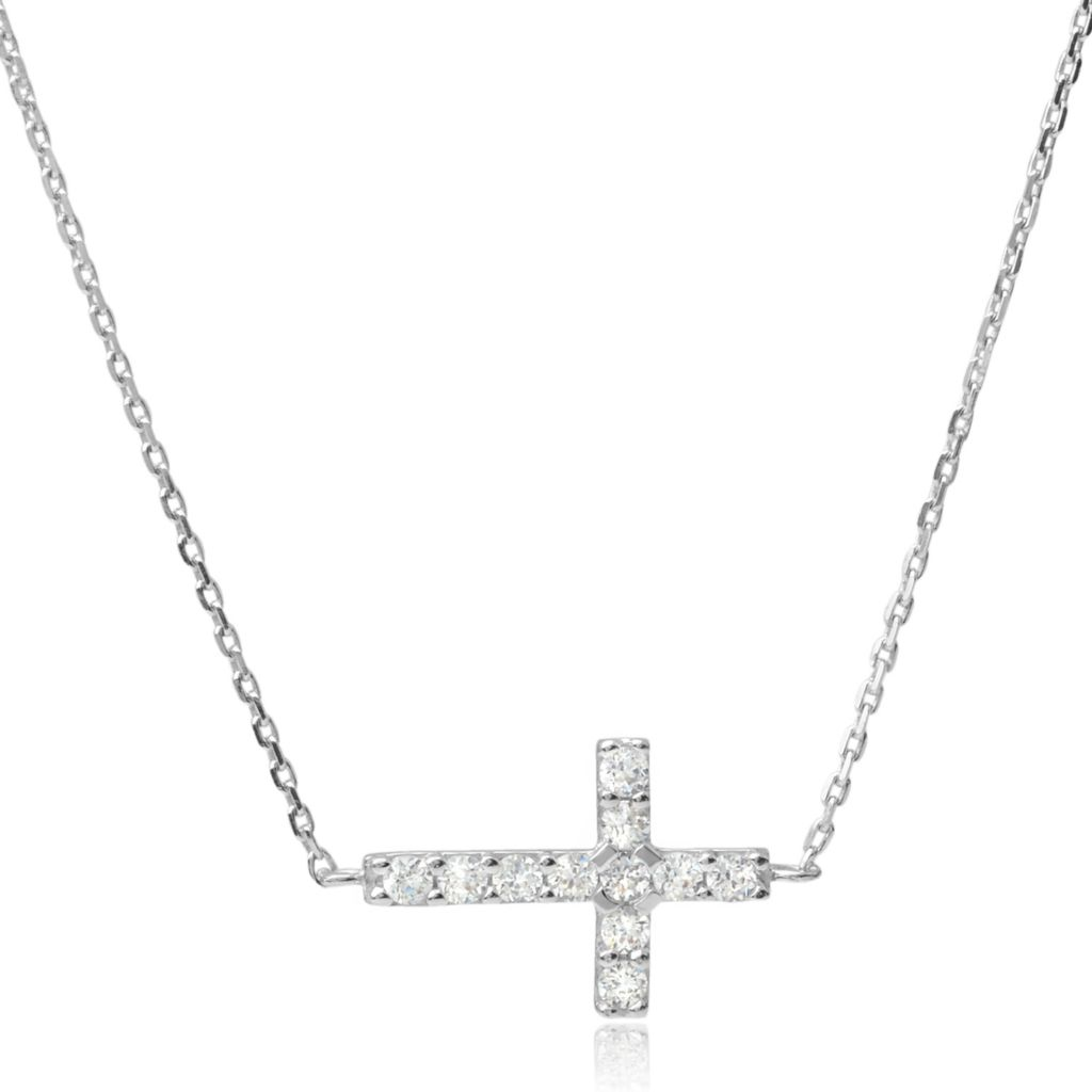 "140-993 - Tressa Collection 18"" Sterling Silver Simulated Diamond Sideways Cross Necklace"
