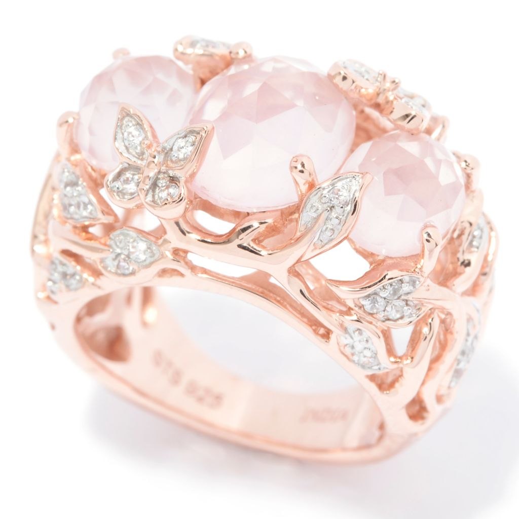 140-996 - NYC II 3.67ctw Oval Rose Quartz & White Zircon Scrollwork Ring