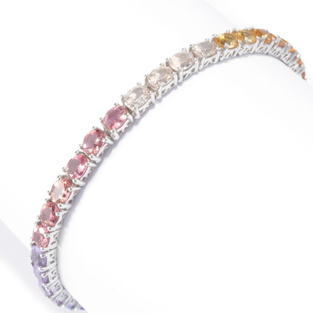 141-001 - NYC II Multi Gemstone Exotic Pastel Rainbow Tennis Bracelet