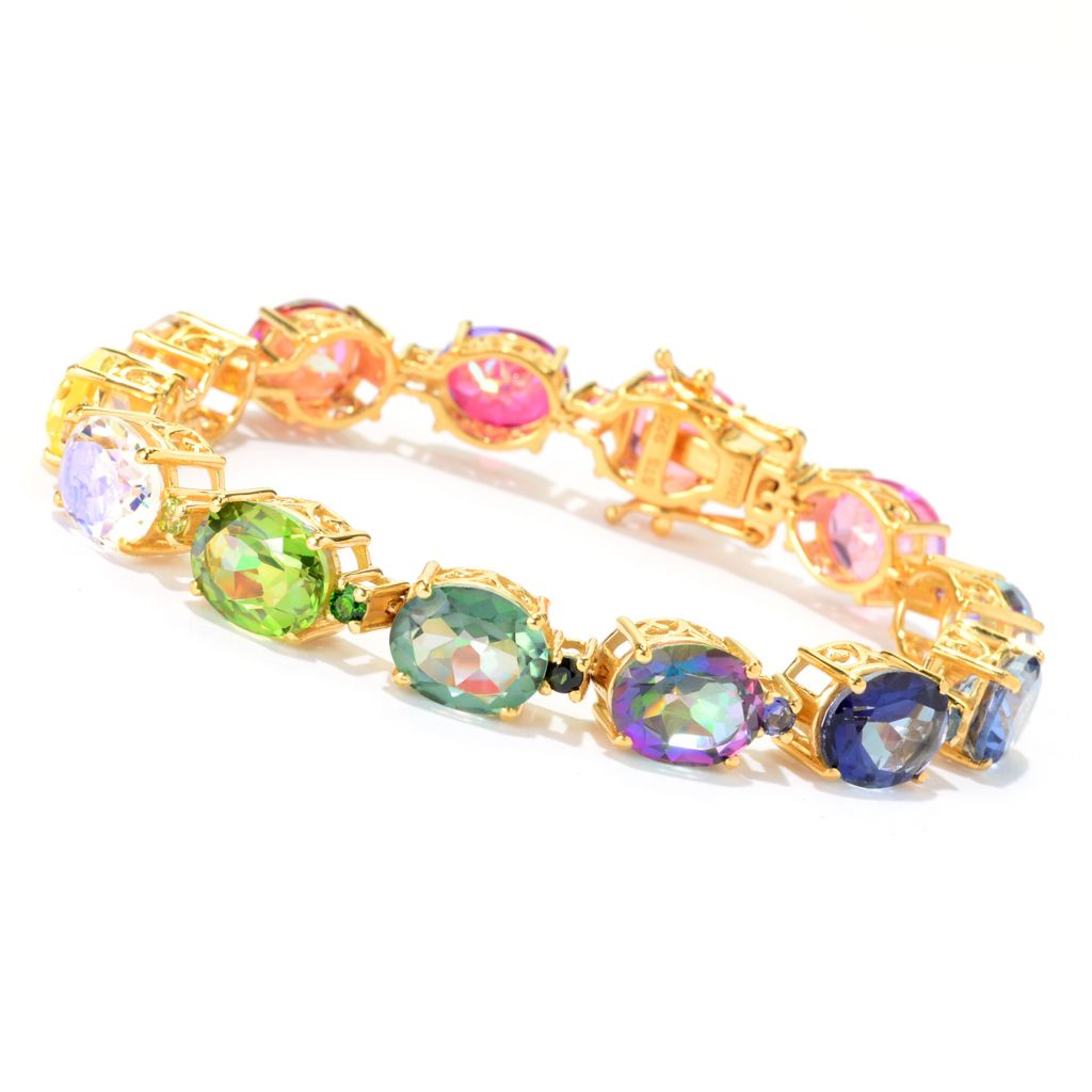 141-003 - NYC II Multi Color Quartz & Exotic Gemstone Tennis Bracelet