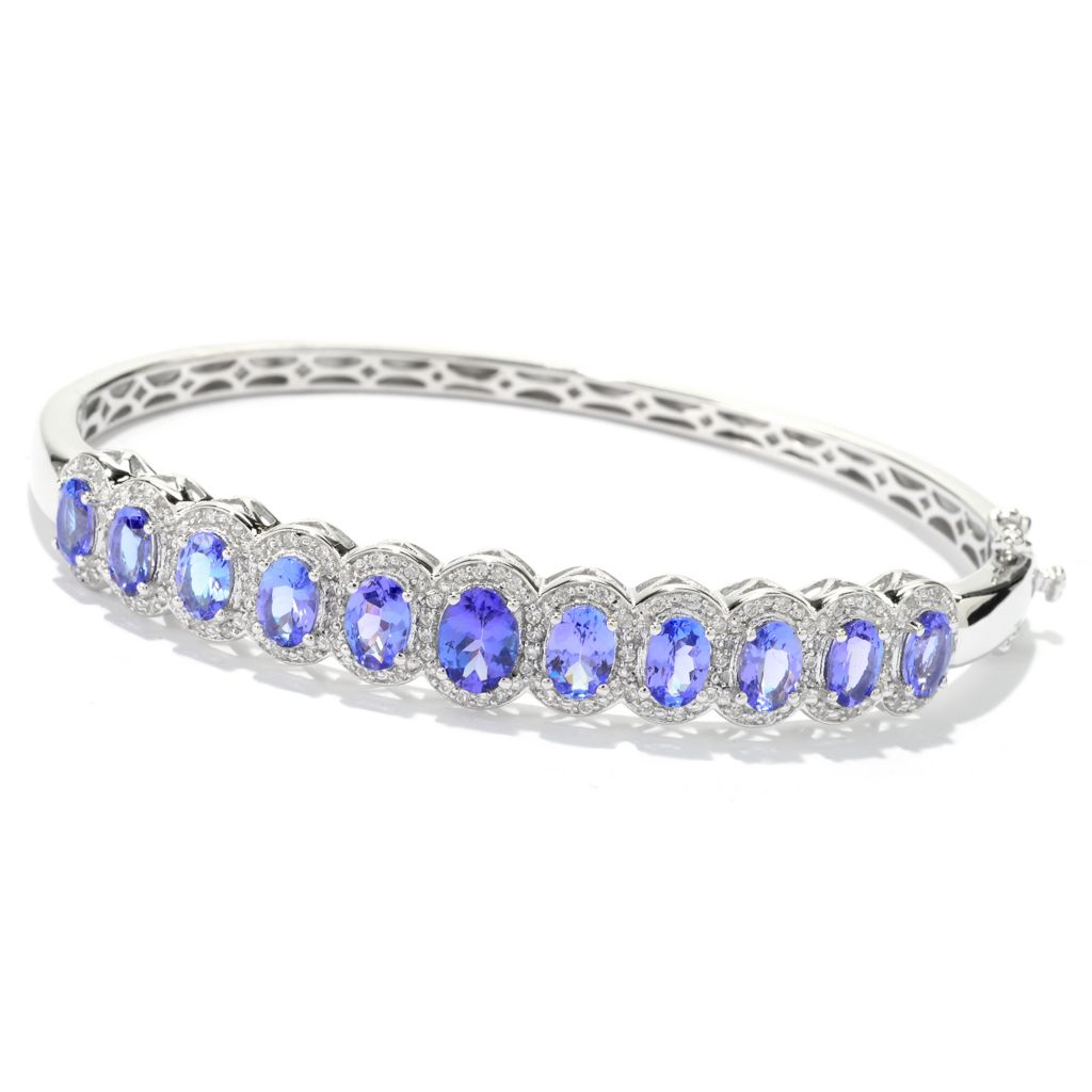 141-007 - NYC II Oval Tanzanite & White Zircon Halo Hinged Bangle Bracelet