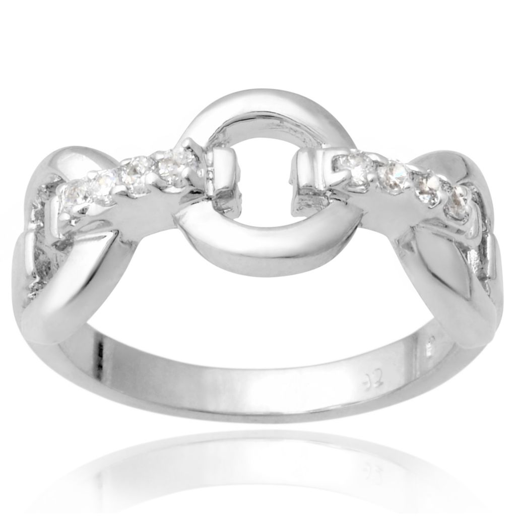 141-009 - Tressa Collection Sterling Silver Simulated Diamond Band Ring