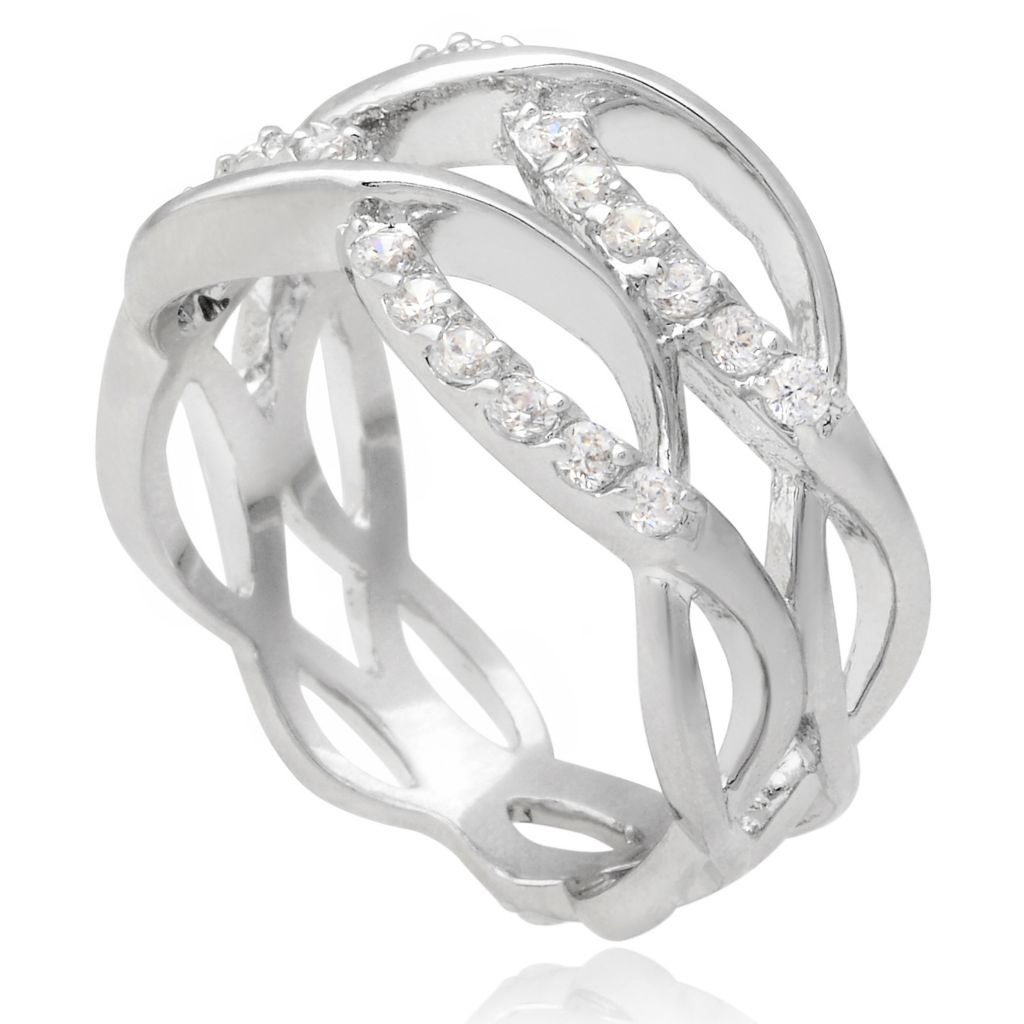 141-010 - Tressa Collection Sterling Silver Simulated Diamond Intertwined Band Ring