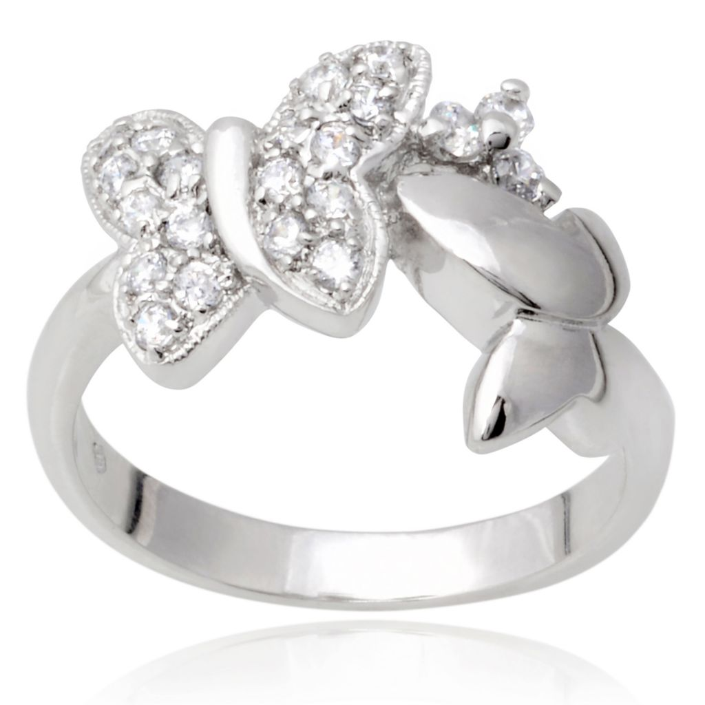 141-011 - Tressa Collection Sterling Silver Simulated Diamond Butterfly Ring