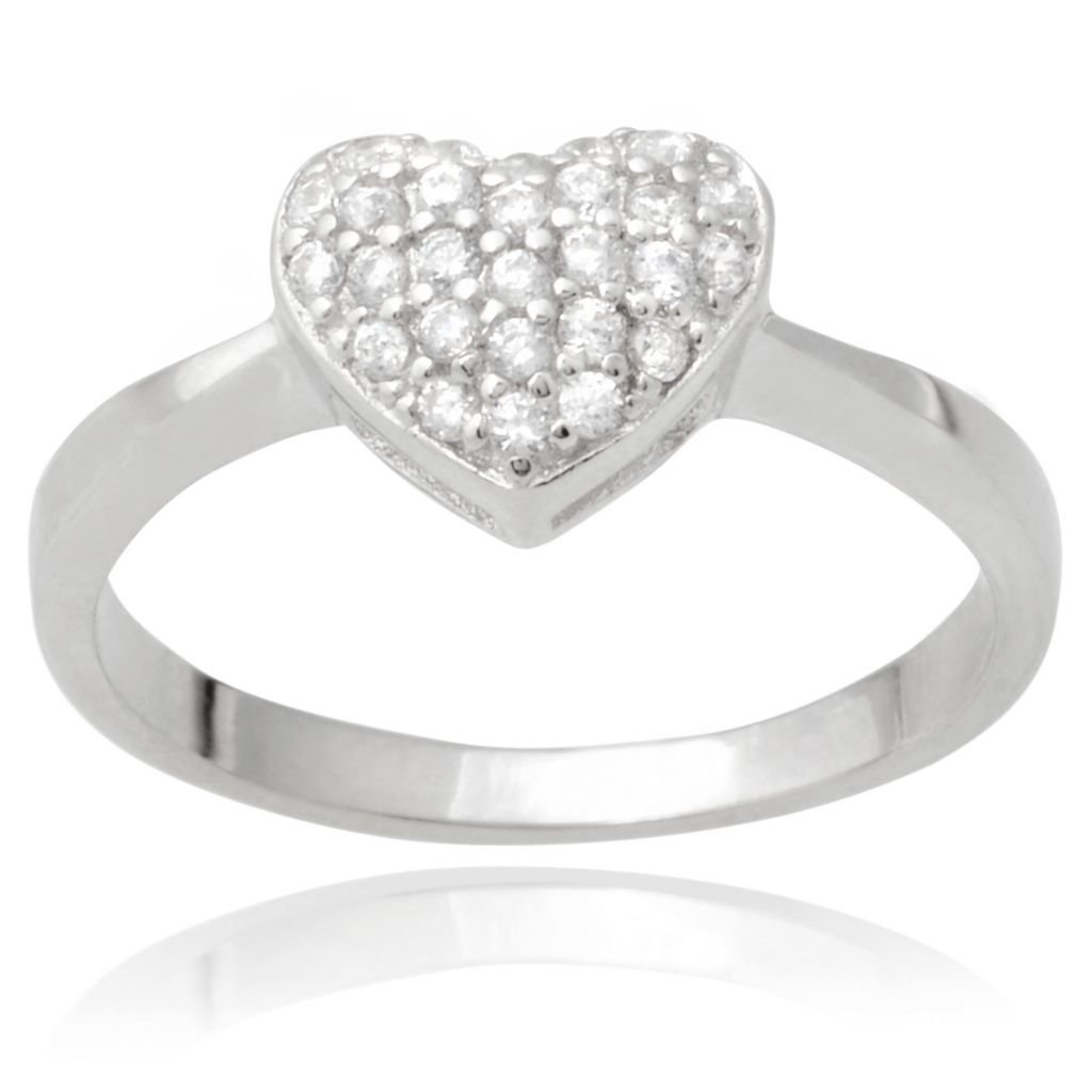141-012 - Tressa Collection Sterling Silver Simulated Diamond Heart Ring