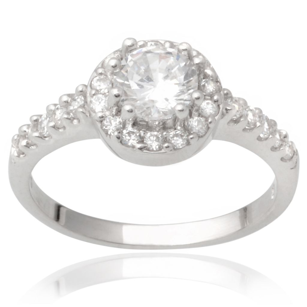 141-014 - Tressa Collection Sterling Silver Round Cut Simulated Diamond Halo Bridal Style Ring