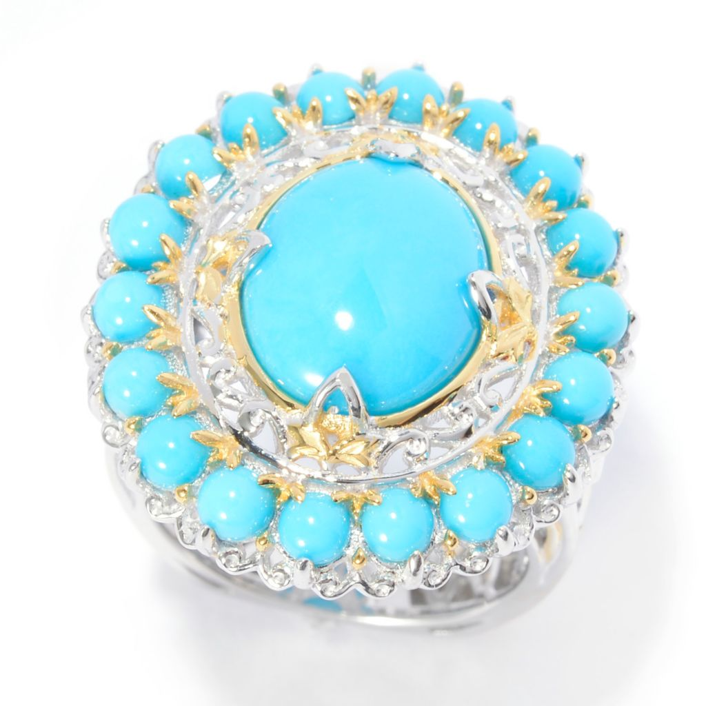 141-015 - Gems en Vogue 12 x 10mm Sleeping Beauty Turquoise Halo Ring