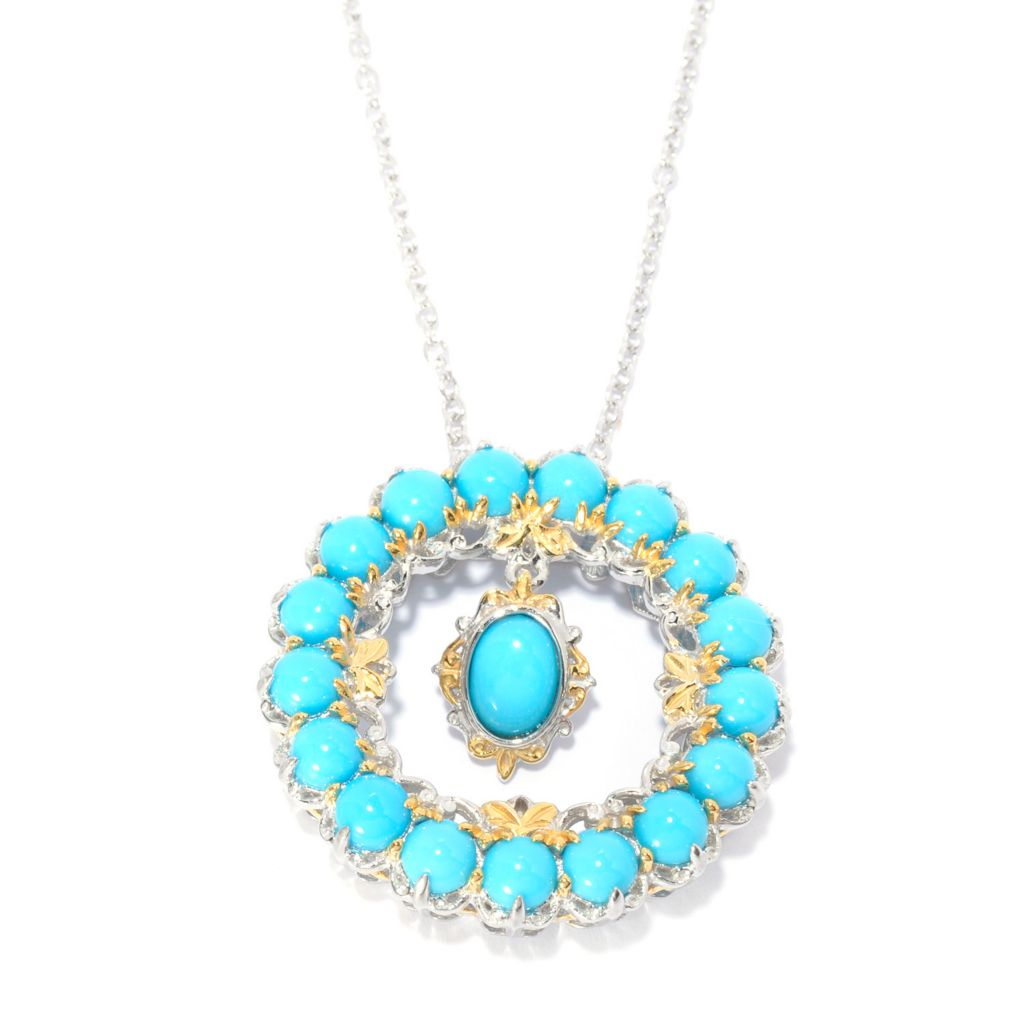 "141-016 - Gems en Vogue Sleeping Beauty Turquoise Halo Pendant w/ 18"" Chain"