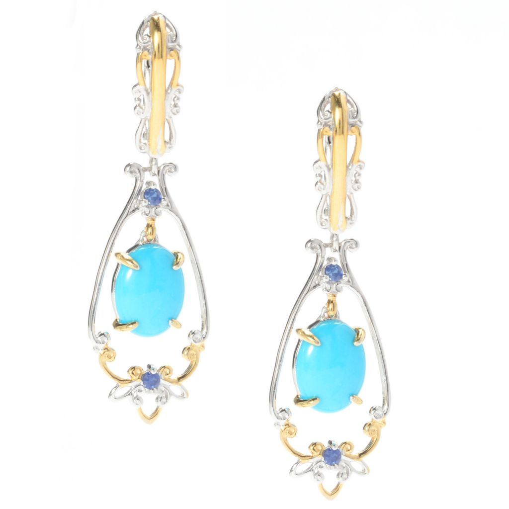 "141-017 - Gems en Vogue 1.5"" Sleeping Beauty Turquoise & Sapphire Drop Earrings"
