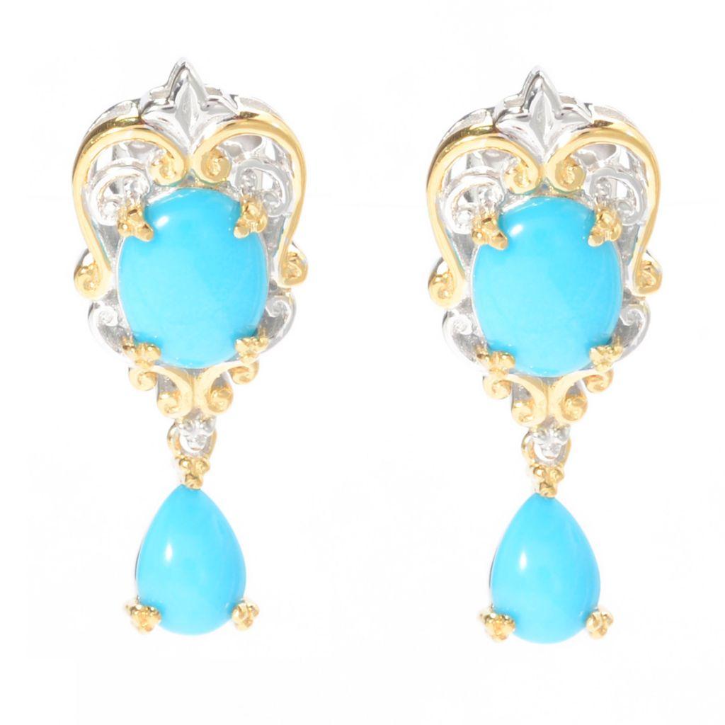 """141-018 - Gems en Vogue 1"""" Oval & Pear Shaped Sleeping Beauty Turquoise Dangle Earrings"""