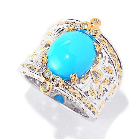 141-019 - Gems en Vogue 12 x 10mm Sleeping Beauty Turquoise & White Sapphire Wide Band Ring