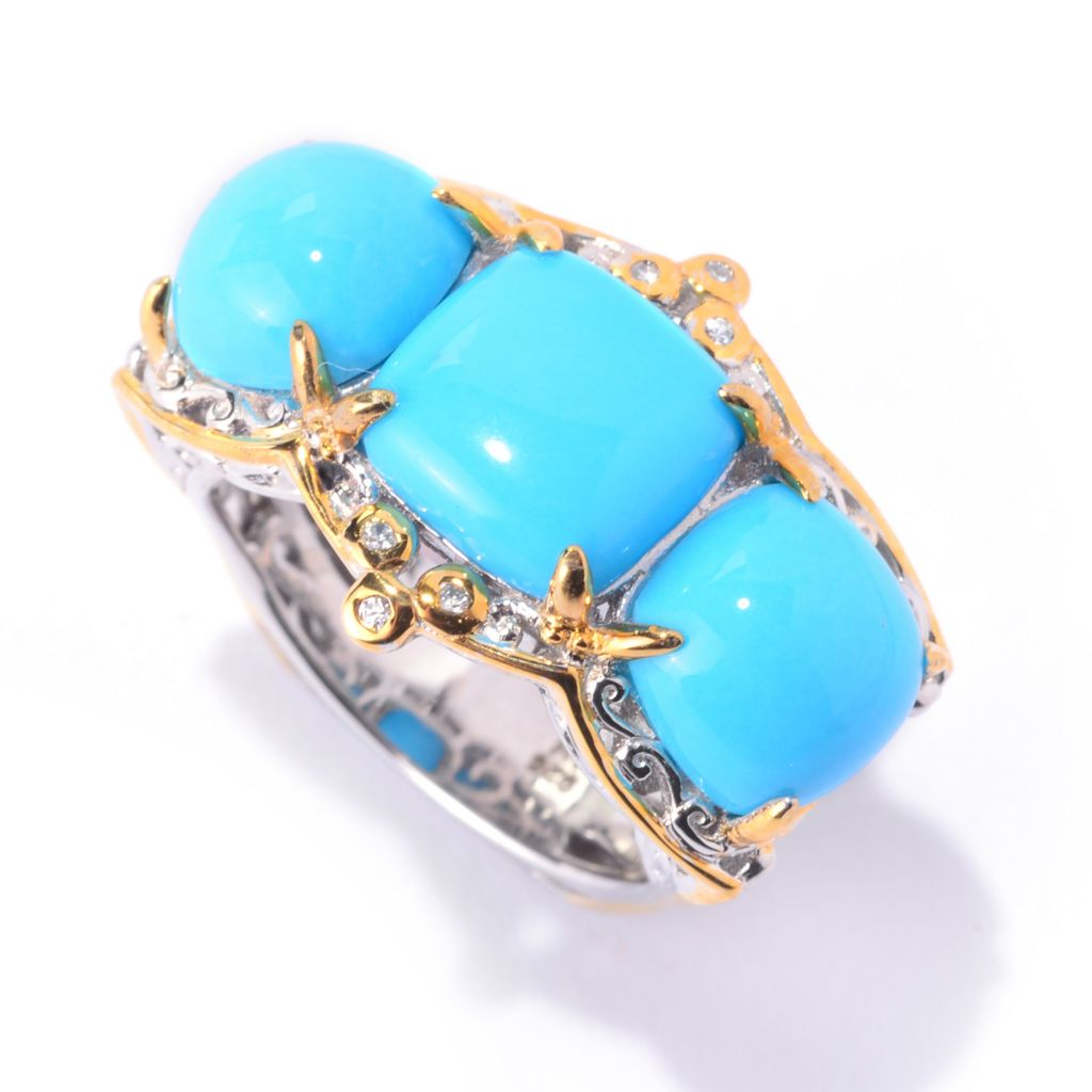 141-020 - Gems en Vogue Sleeping Beauty Turquoise & White Zircon 3-Stone Band Ring