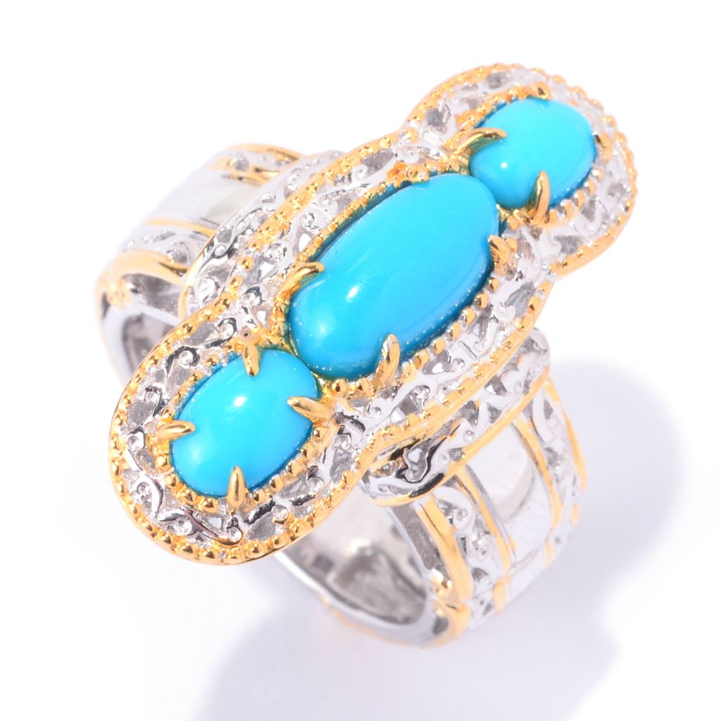 141-022 - Gems en Vogue Sleeping Beauty Turquoise Three-Stone Elongated Ring