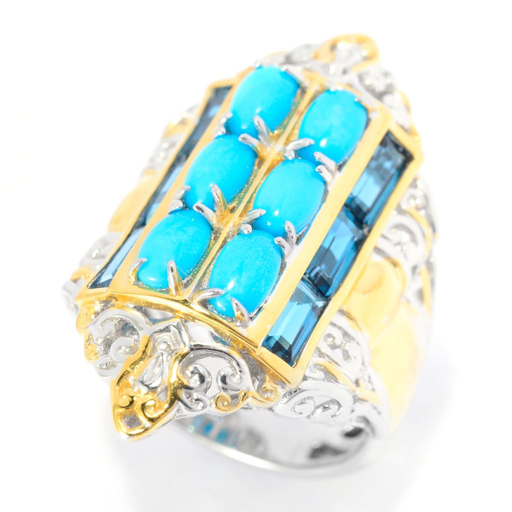 141-023 - Gems en Vogue Sleeping Beauty Turquoise & London Blue Topaz Elongated Ring