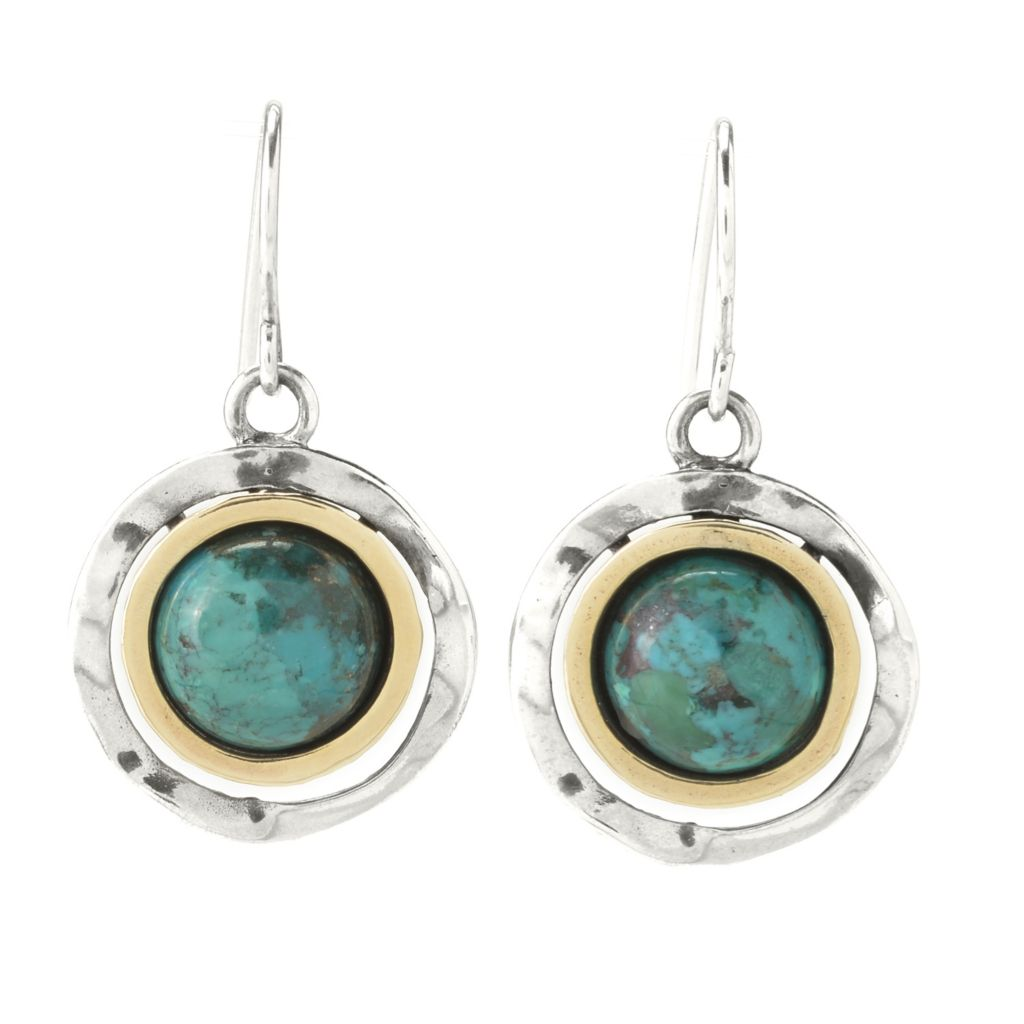 "141-026 - Passage to Israel Sterling Silver & 14K Gold 1"" 10mm Turquoise Drop Earrings"