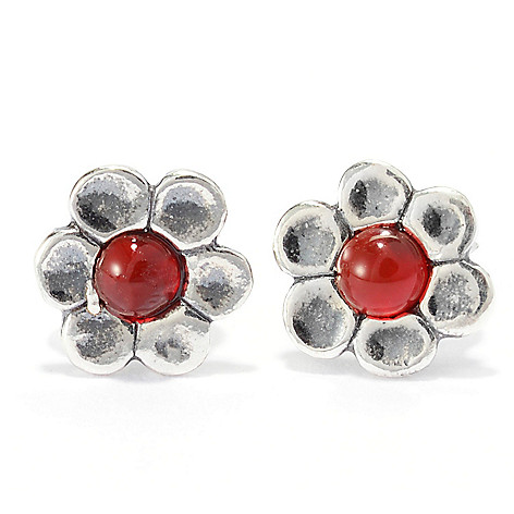 141-027 - Passage to Israel Sterling Silver Gemstone Oxidized Flower Stud Earrings