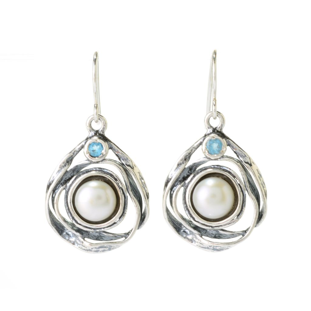"141-028 - Passage to Israel Sterling Silver 1.25"" 8mm Cultured Pearl & Blue Topaz Drop Earrings"