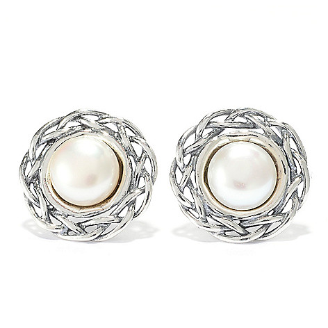 141-029 - Passage to Israel Sterling Silver 7mm Freshwater Cultured Pearl Stud Earrings