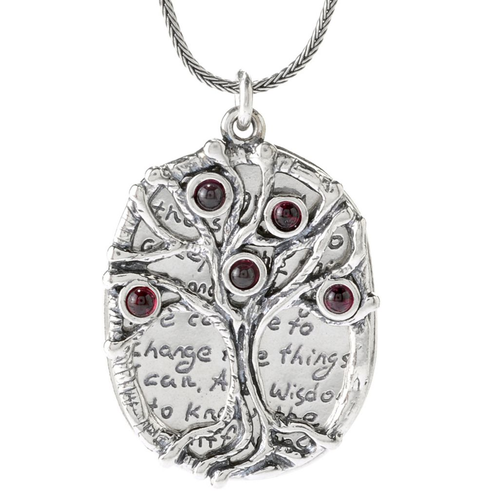 "141-030 - Passage to Israel Sterling Silver 18"" Gemstone Tree of Life & Prayer Necklace"