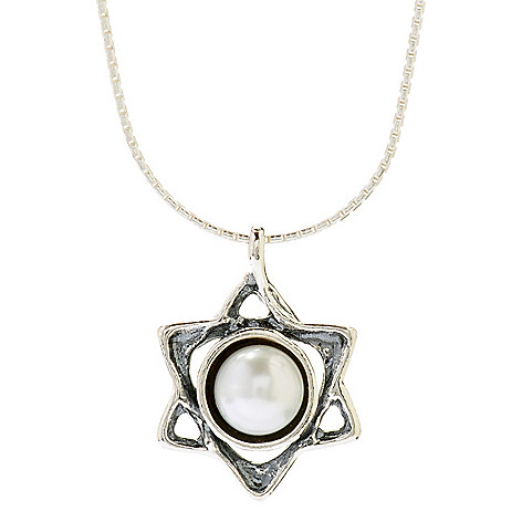 141-036 - Passage to Israel Sterling Silver 18'' Freshwater Cultured Pearl Star of David Necklace