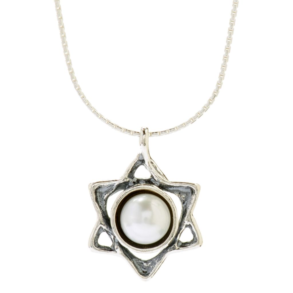 "141-036 - Passage to Israel Sterling Silver 18"" Freshwater Cultured Pearl Star of David Necklace"