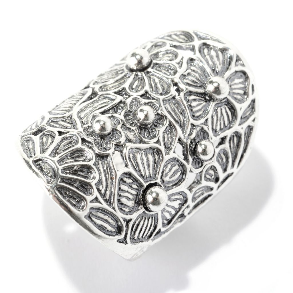 141-037 - Passage to Israel Sterling Silver Oxidized & Cut-out Floral Design Elongated Ring