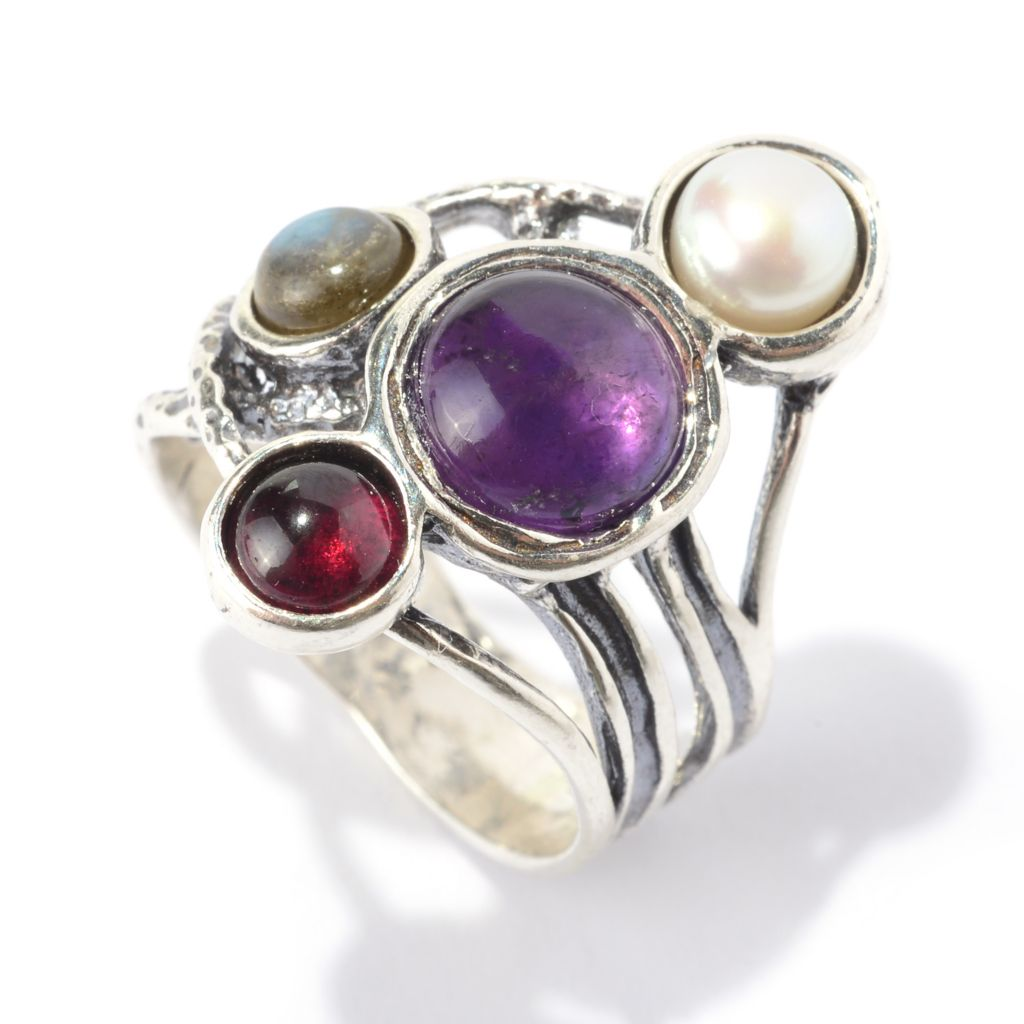 141-038 - Passage to Israel Sterling Silver Multi Gemstone Oxidized Abstract Ring