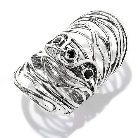 141-041 - Passage to Israel™ Sterling Silver Three-Gemstone Elongated Wrap Ring
