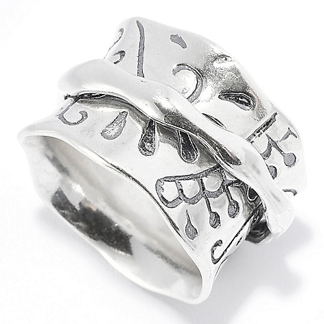 141-042 - Passage to Israel™ Sterling Silver Abstract Design Oxidized Wide Band Spinner Ring