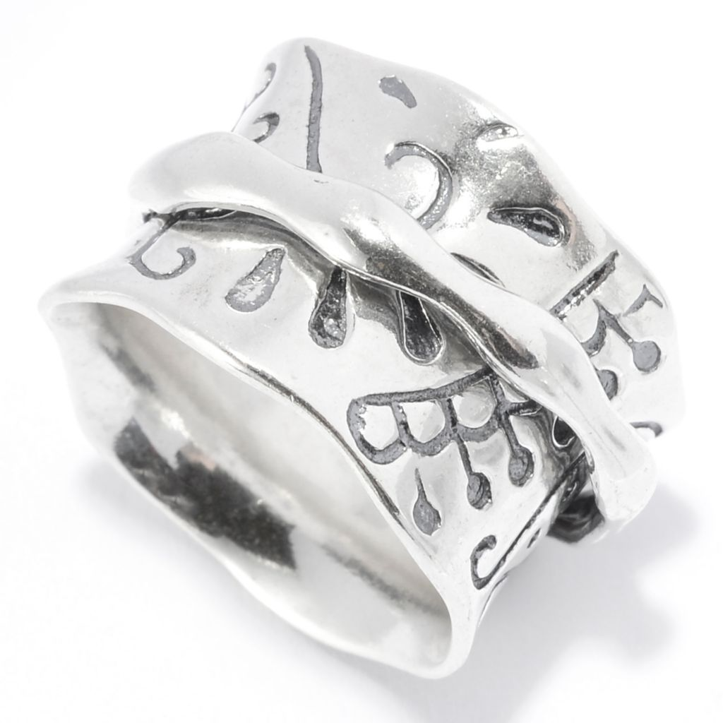 141-042 - Passage to Israel Sterling Silver Abstract Design Oxidized Wide Band Spinner Ring