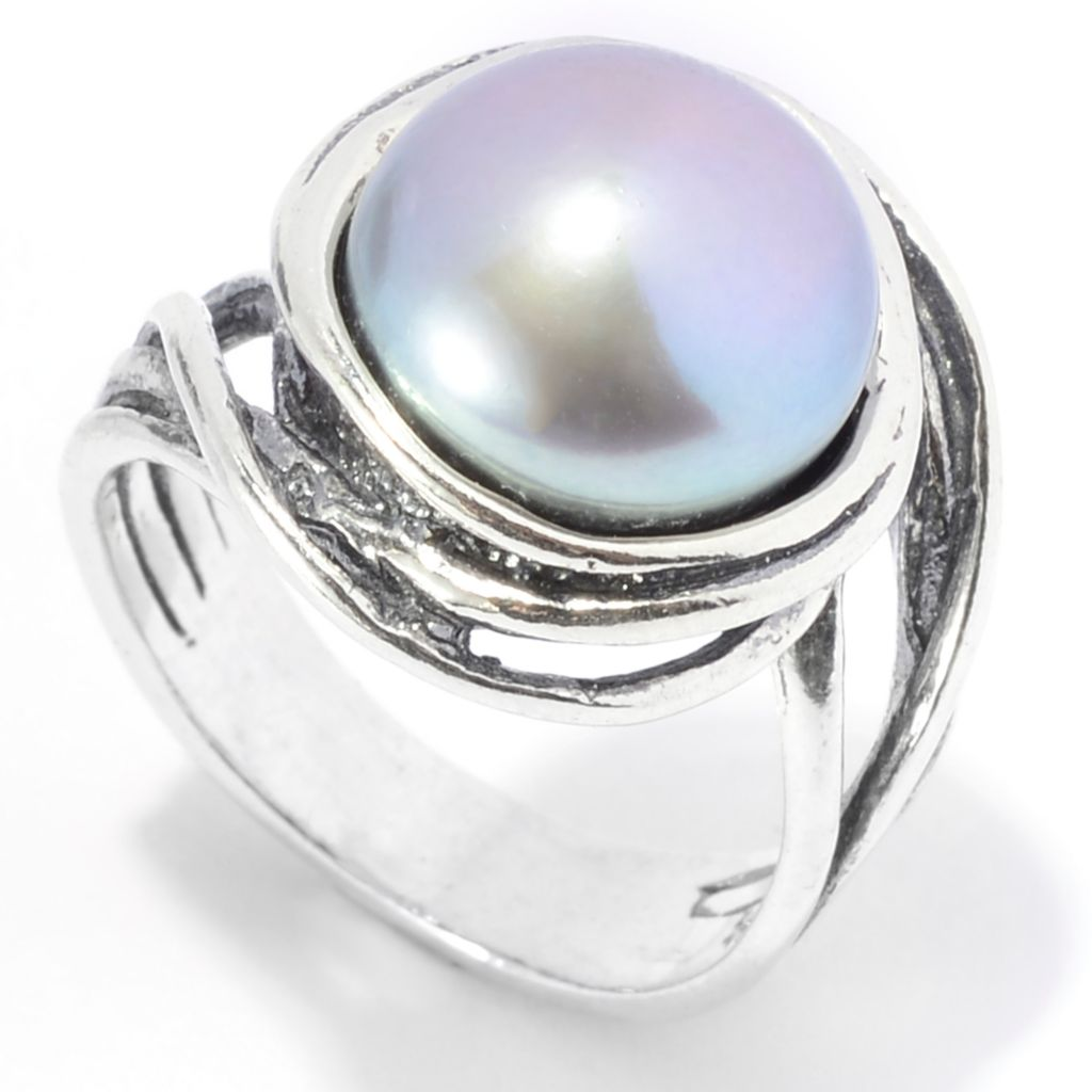 141-043 - Passage to Israel Sterling Silver 11.5-12mm Cultured Pearl Wrapped Border Ring