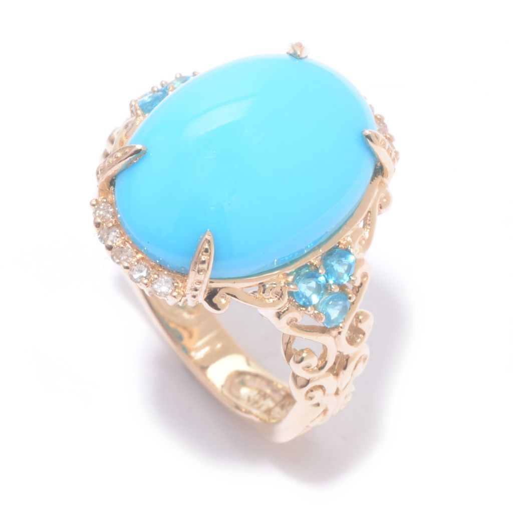 141-044 - Gems en Vogue 14K Gold 16 x 12mm Sleeping Beauty Turquoise & Multi Gem Ring