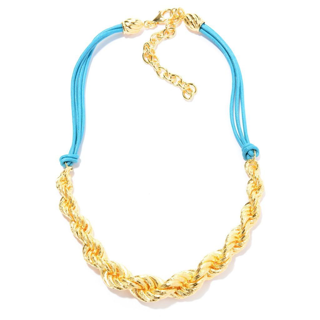 141-047 - Toscana Italiana 18K Gold Embraced™ Textured Rope Chain & Multi Cord Necklace