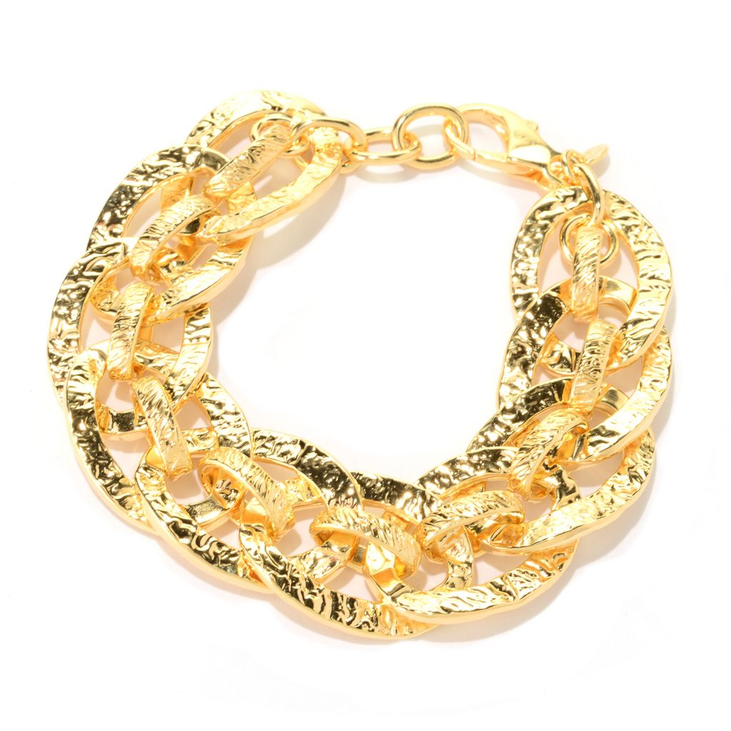 "141-048 - Toscana Italiana 18K Gold Embraced™ 8.25"" Textured Fancy Chain Link Bracelet"