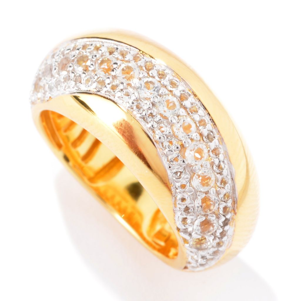 141-049 - Portofino 18K Gold Embraced™ White Topaz Pave Curved Dome Ring