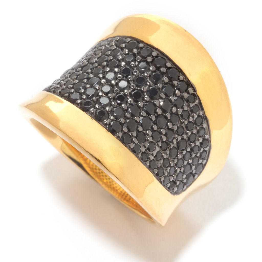 141-050 - Portofino 18K Gold Embraced™ 1.91ctw Pave Black Spinel Concave Ring