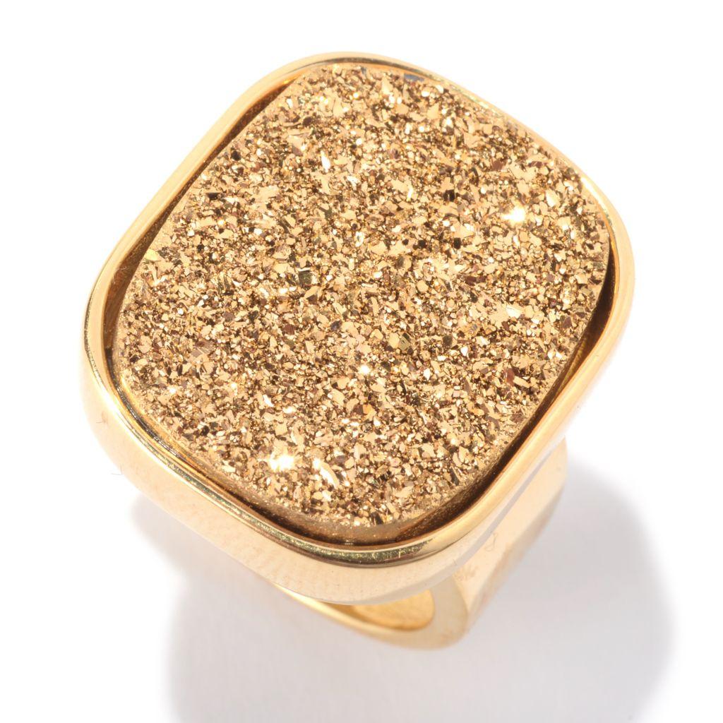 141-053 - Portofino 18K Gold Embraced™ 21 x 17mm Drusy Quartz Polished Ring