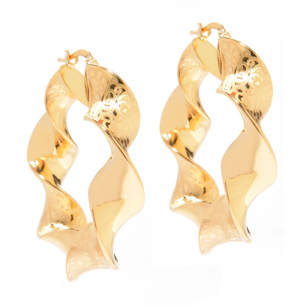 "141-056 - Portofino 18K Gold Embraced™ 1.5"" Textured Swirl Twisted Hoop Earrings"