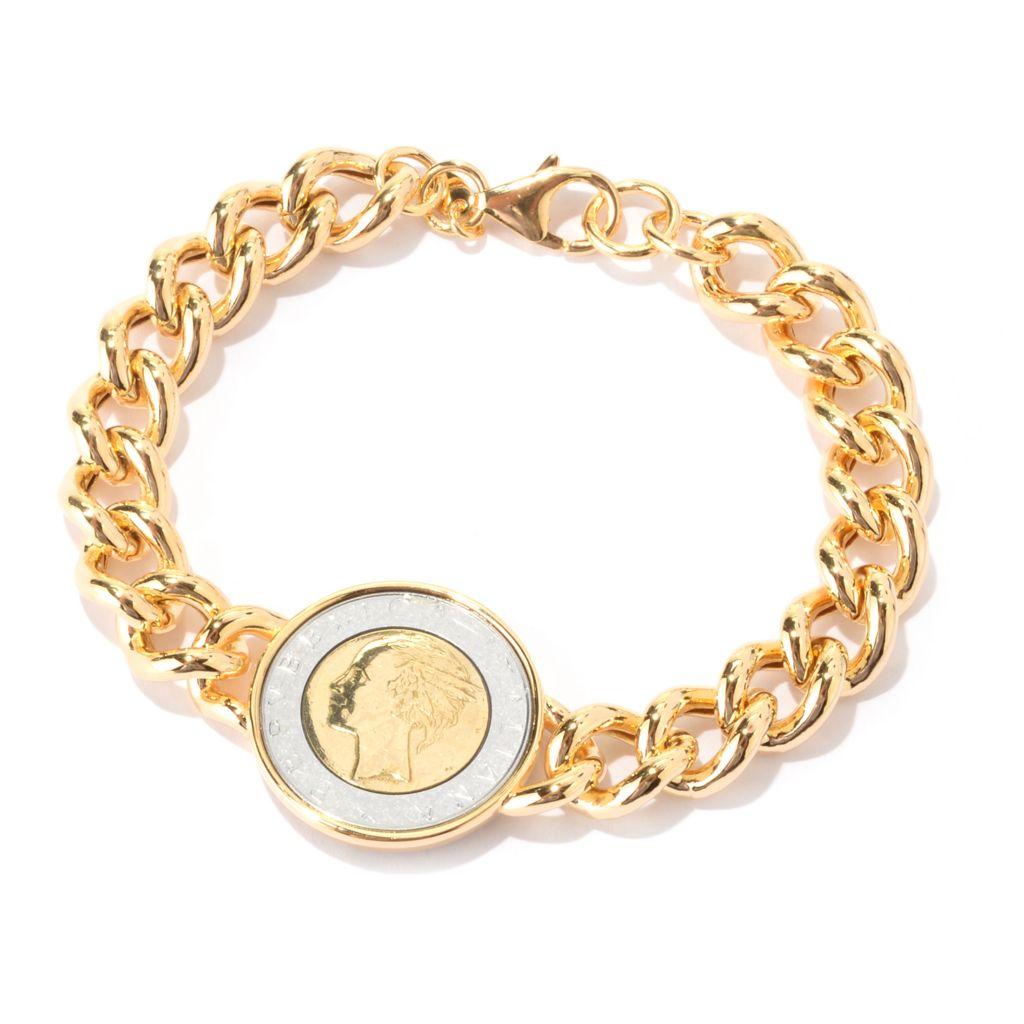 141-059 - Portofino Signature 18K Gold Embraced™ Italian 500 Lire Coin Link Bracelet